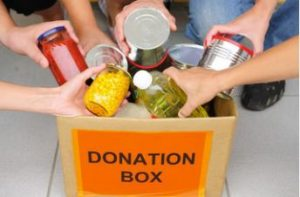 donation box with canned food