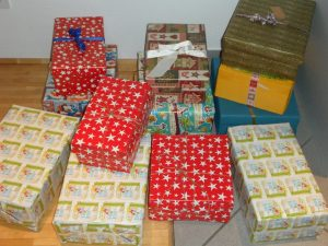 shoeboxes wrapped in Christmas paper