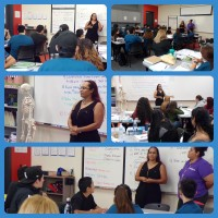 collage of female alumni speaking to students