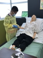 male student with patient